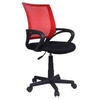 FYLLIANA 5518 093-15-059 Καρέκλα Γραφείου με Μπράτσα Μαύρη με Κόκκινη Πλάτη