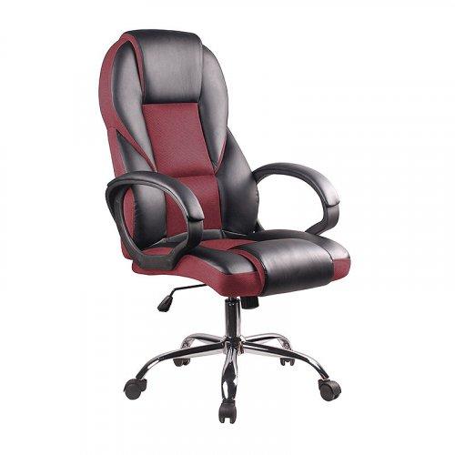FYLLIANA 093-16-079 Καρέκλα Γραφείου Δερμάτινη Μάυρο/Μπορντώ Ύφασμα