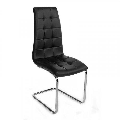 FYLLIANA Y-117 606-24-030 Καρέκλα Μαύρη με Χρώμιο Πόδια