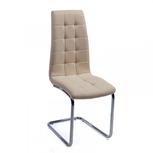 FYLLIANA Y-117 606-24-029 Καρέκλα Μπεζ με Χρώμιο Πόδια