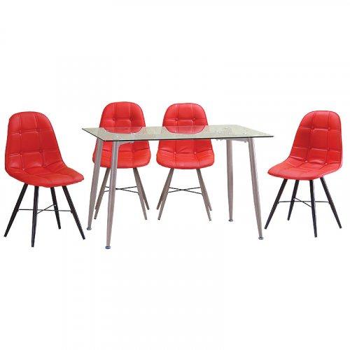 FYLLIANA Α282-604-8 618-16-006 Καρέκλα Δερμάτινη Κόκκινη/Sonoma Πόδια (ΕΛΑΧΙΣΤΗ ΠΟΣΟΤΗΤΑ 6 ΤΕΜΑΧΙΑ)