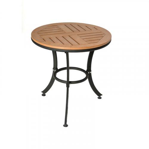 FYLLIANA PΤ-803-1 624-17-005 Τραπέζι Στρογγυλό Polywood Καφέ 60*60*65εκ.