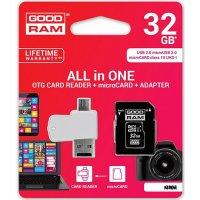 GOODRAM GRAM913420 4 in 1 Κάρτα MicroSD 32GB + Card Reader + OTG + Αντάπτορας CL10