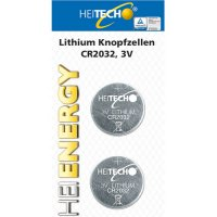HEITECH CR2032 LITHIUM BATTERY 2/PACK  210 mAh 3V (HEI000507)