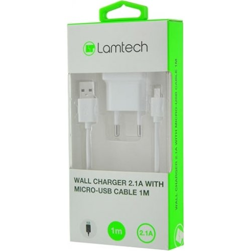LAMTECH LAM020175 Wall Charger 2.1A With Micro USB Cable 1m White