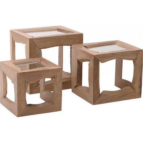 INART 7-50-076-0006 Βοηθητικό Τραπέζι Ξύλινο/Γυάλινο Natural Σετ 3 Τεμαχίων  54 χ 44 χ 52 εκ