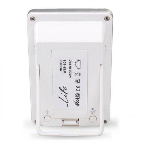 LIFE WES-101 Ψηφιακό Θερμόμετρο/Υγρόμετρο Εσωτερικού Χώρου με Ρολόι & Εγχρωμη Απεικόνιση Επιπέδου Υγρασίας Λευκό 0017208