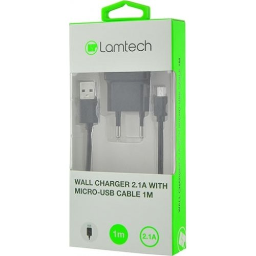 LAMTECH LAM020141 micro USB Cable & Wall Adapter 1μ Μαύρο