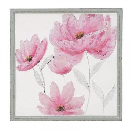 INART 3-90-242-0120 Πίνακας Ξύλινος Ροζ Λουλούδια 80χ2,5χ80εκ.