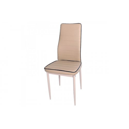 FYLLIANA C-001 617-16-003 Καρέκλα Δερμάτινη Μπεζ με Καφέ Ρίγα