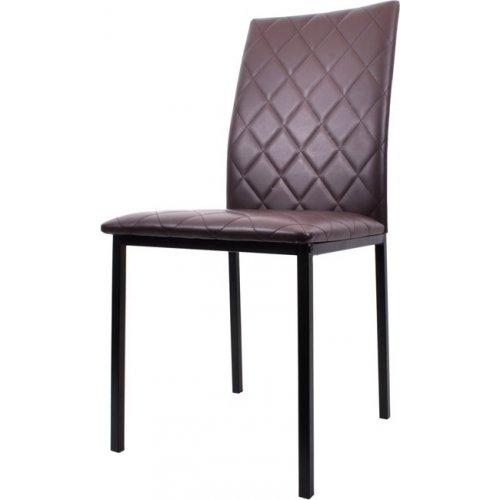 FYLLIANA 617-27-017 Καρέκλα Τραπεζαρίας C-002 Καφέ Δερματίνη με Μπεζ Ραφές