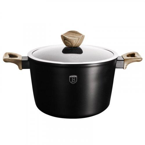 BERLINGER HAUS BH-1709 Ebony Marbl Βαθιά Κατσαρόλα με Καπάκι- Σουρωτήρι για Ζυμαρικά και Ρύζι 24 cm 0017716