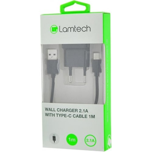 LAMTECH LAM020168 WALL CHARGER 2.1A WITH TYPE-C CABLE 1M BLACK