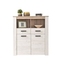 FORMA IDEALE 11005742 Βιτρίνα Kent POP 2F Grey Oak/White Oak 114x36,5x127,5εκ.