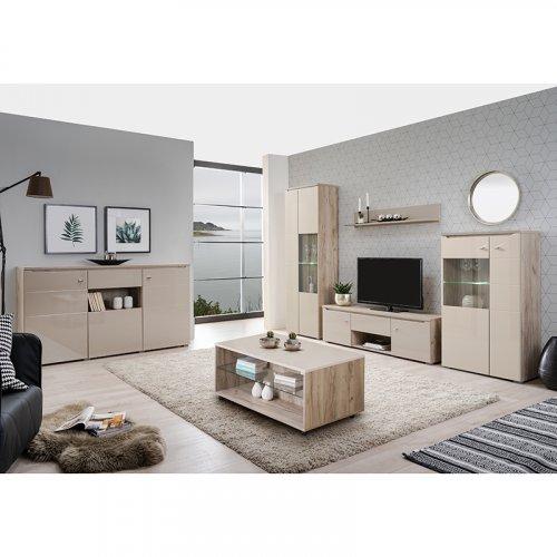 FORMA IDEALE 11007410 Ράφι Τοίχου Toscana Zp Grey Oak - Sand Γυαλιστερό Foil 121.5 x 19.5 x 20