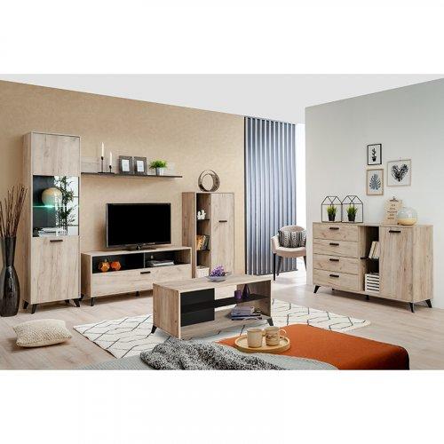 FYLLIANA 11007385 Βιτρίνα Μονόφυλλη Umbria 1k VS Grey Oak-Μαύρο 53,5χ33χ191,5εκ.